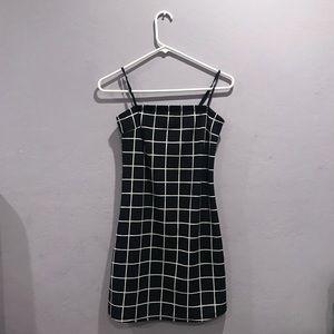 Spaghetti Strap Grid Bodycon Dress